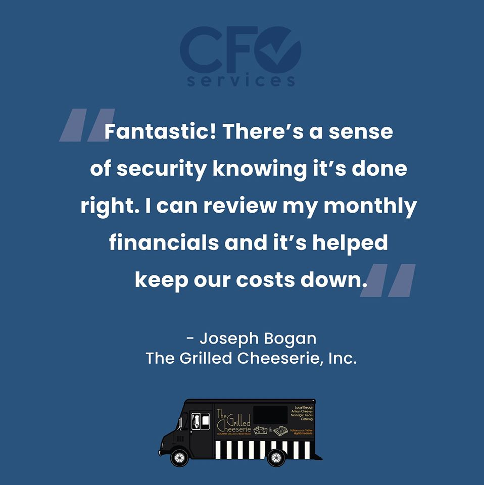 The Grilled Cheeserie testimonial for CFO Services.